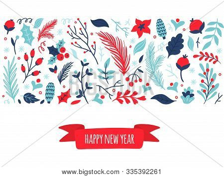 Cute Hand-drawn Set Of Winter Elements With Text Happy New Year. Nature Vector Illustration On Chris
