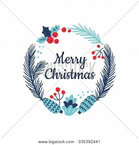 Hand-drawn Round Banner With Winter Flowers And Text Merry Christmas. Festive Vector Illustration. G