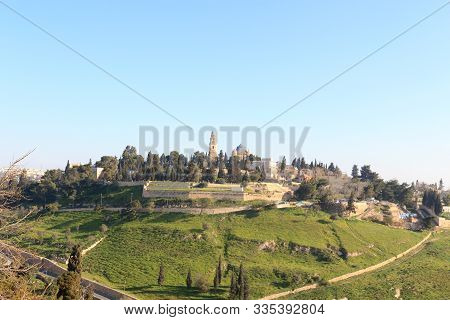 Mount Zion With Abbey Of The Dormition In Jerusalem, Israel