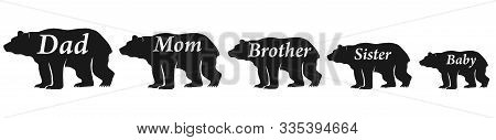 The Family Of Bears. Daddy Bear, Mommy Bear. Vector Illustration Of Silhouettes Of Copper Scientists