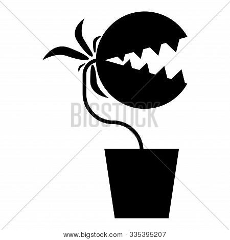 Carnivorous Plant Flytrap Monster With Teeths In Pot Icon Black Color Vector Illustration Flat Style