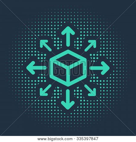 Green Distribution Icon Isolated On Blue Background. Content Distribution Concept. Abstract Circle R