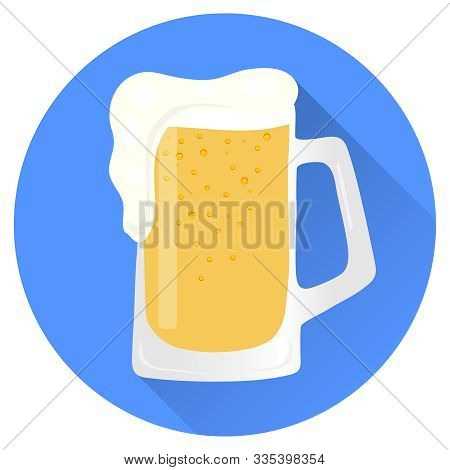 Glass Of Beer, Beer Glass With Shadow Isolated On Blue Background. Vector Illustration Of A Glass Of