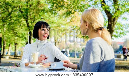 True Friendship Friendly Close Relations. Conversation Of Two Women Cafe Terrace. Friendship Meeting