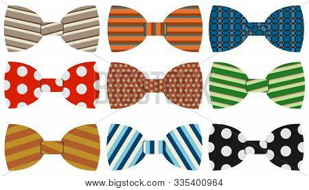 Bow Tie, A Collection Of Realistic, Colorful Bow Ties. Cartoon Illustration Of A Bow