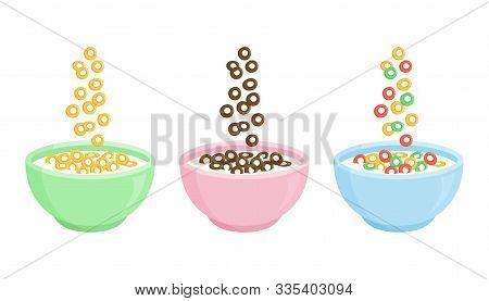 Cereal Breakfast. Ceramic Bowl With Milk And Different Sweet Crunchy Flakes. Falling Colorful Cereal