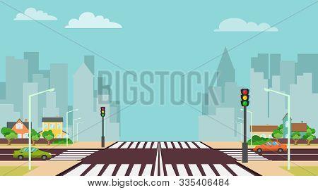 Cartoon City Crossroads With Traffic Lights, Sidewalk, Crosswalk And Urban Landscape. Stock Vector I