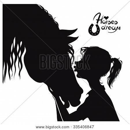 Vector Illustration. Cartoon Silhouette Of A Beautiful Horse And A Young Girl. The Concept Of Love A