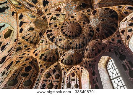 Isfahan, Iran - Ocotber 20, 2016: Decorated Ceiling Of Music Hall In Ali Qapu Palace On Imam Square