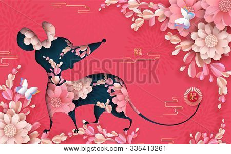 Year Of The Rat 2020 Paper Cut Design Greeting Card, Banner, Flyer With Silhouette Of Mouse, Peonies