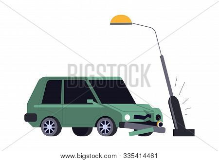 Car Crash, Vehicle Hits Streetlight, Road Accident Isolated Icon