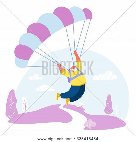Active Senior Man Skydiver Sports Activity Hobby Pensioner Floating In Sky With Chute. Happy Aged Wh