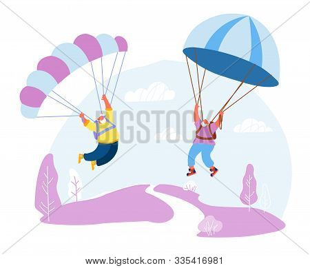 Senior White Haired Men Skydivers In Sports Wear Uniform Floating In Sky With Chutes. Happy Aged Pen