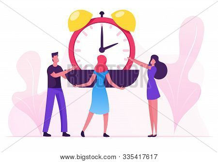 Group Of Businesspeople Put Huge Alarm Clock On Scalepan. Time Is Money, Valuable Life Resource Conc