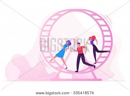 Looping Life And Daily Routine Work Concept. Tired Stressed Business People Running Inside Of Huge H