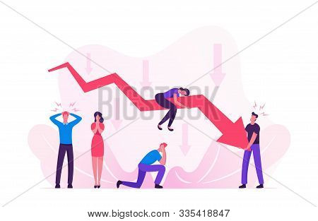 Sad Business People Around Decline Red Arrow Chart. Business On Falling Down Graph. Financial Fail R