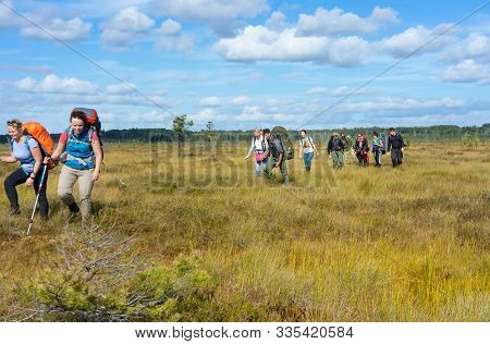 A Group Of Tourists Walks Through A Swamp, Tourists Walk Through A Swampy Swamp, Tselau Swamp, Kalin