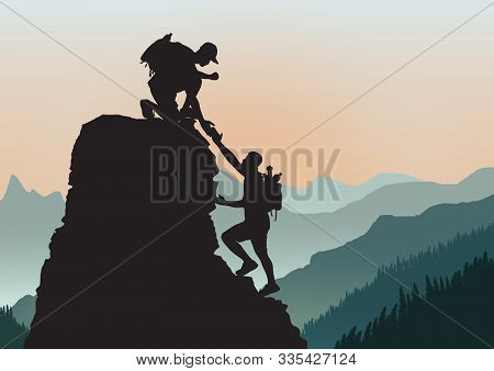 Silhouette Of Two People Climbing Mountain Helping Each Other On Rocky Mountains Background, Helping