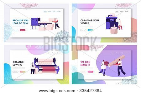 Fiber Creating Industry Website Landing Page Set. Employees Working On Textile Manufacturing Factory