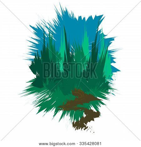 Drawing Coniferous Forest, Blue Sky And A Footpath. Image Of Pine And Spruce Forest, Stylized As A P