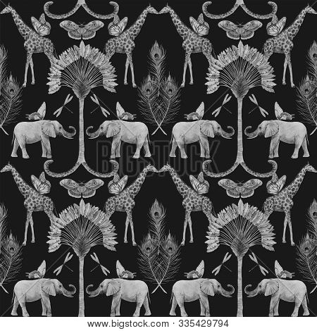Beautiful Vector African Safari Animal Tropical Seamless Pattern. Trendy Style.