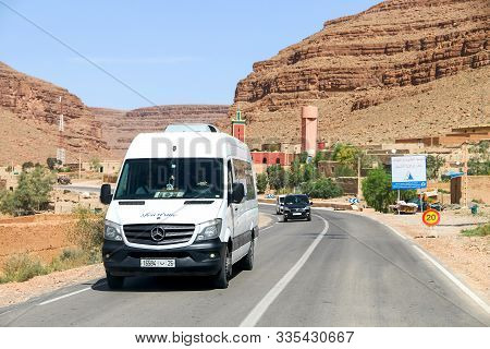 Khenifra Province, Morocco - September 27, 2019: White Passenger Van Mercedes-benz Sprinter At The I