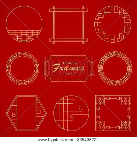 Asian Frame Set In Vintage Style On Red Background. Traditional Chinese Ornaments For Your Design. V