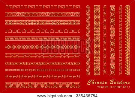 Asian Border Set In Vintage Style On Red Background. Traditional Chinese Ornaments For Your Design.