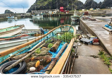 Boats At The Tappi Port, Aomori Prefecture, Honshu, Japan