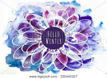 Watercolor Abstract Background In Violet-blue Colors. Hello Winter Coscept.