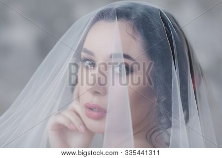 Beautiful Bride With Wedding Makeup And Hairstyle. Charming Bride Portrait With Veil Over Her Face.