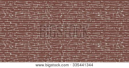 Abstract Background Of A Brick Wall. White Broken Lines And Uneven Seams. Brown Seamless Pattern