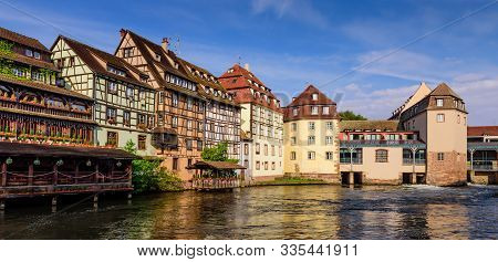Sightseeing Of France. Beautiful View Of Petite France Quarter. A Popular Attraction In Strasbourg,