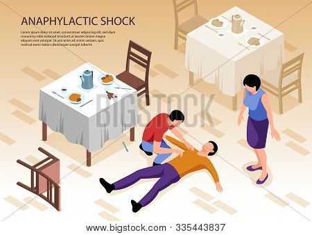Two People Caring Of Man With Allergy And Anaphylactic Shock Lying On Floor In Restaurant 3d Isometr