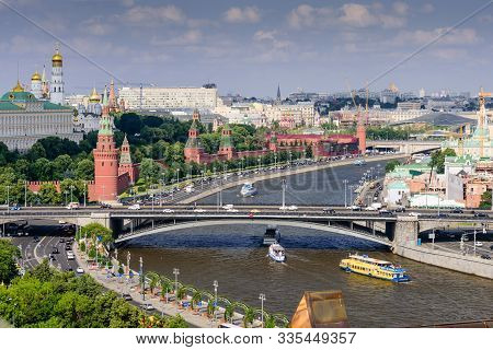 Moscow, Russia - June 10, 2019: Aerial View Of Moscow. Moscow Kremlin. Beautiful Summer View Of Mosc