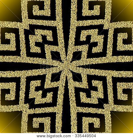 Textured 3d Greek Geometric Gold Vector Seamless Pattern. Stippled Ornamental Dotted Background. Rep
