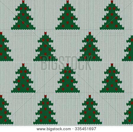Seamless Knit Pattern With Fir Tree. Christmas Scandinavian Fail Isle Backgroung