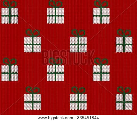 Seamless Knitted White Gift Boxes Pattern On White Background. Christmas Backgroung
