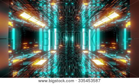 Stylish Scifi Tunnel Corridor With Reflective Bricks Texture And Glowing Lights 3d Illustration Back