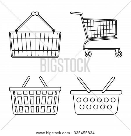 Isolated Object Of Pushcart And Shopping Logo. Collection Of Pushcart And Cart Vector Icon For Stock