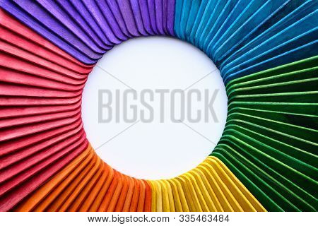 Isolated Popsicle Ice Cream Sticks With Color Wheel Shape
