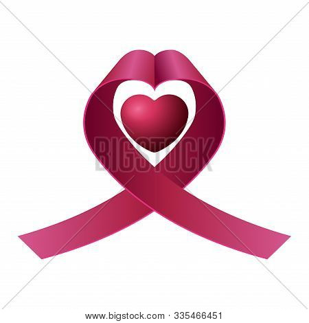 Isolated Pink Ribbon For A Breast Cancer Campaign Poster - Vector Illustration