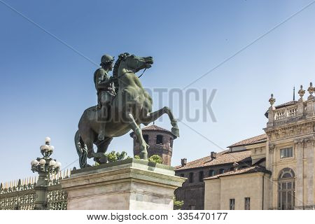 Statue Of A Horse Rider In Front Of The Royal Palace (palazzo Reale) In Turin (torino), Piedmont (pi