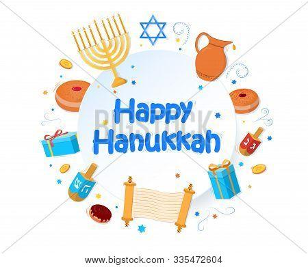 Jewish Holiday Hanukkah Greeting Card Traditional Chanukah Symbols Wooden Dreidels Spinning Top, Heb