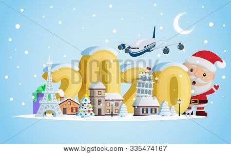 New Year 2020. Greeting Card. Santa Claus And Volumetric Numbers 2020. The Winter Vacation.  A Small