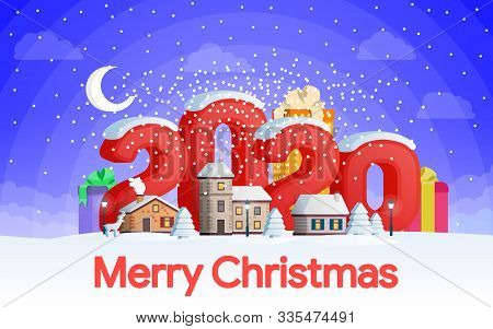 New Year 2020. Greeting Card. Flat 3d Numbers And Objects. The Winter Vacation. A Small Town In The