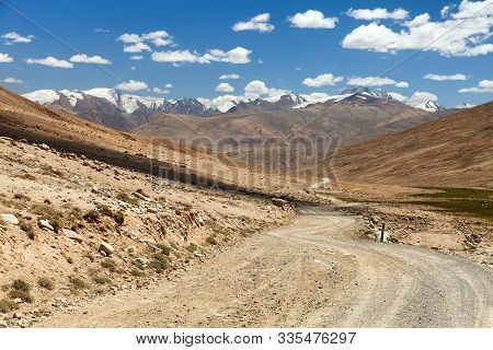 Pamir Highway Or Pamirskij Trakt Unpaved Road In Tajikistan, Gorno-badakhshan Region, Wakhan Valley.