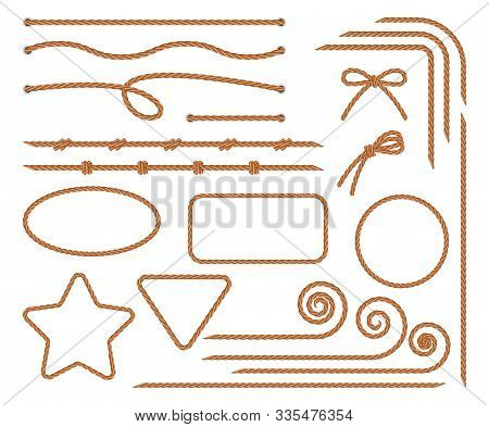 Rope. Set Of Various Decorative Rope Elements. Rope Frames, Laces, Knots And Decorations. Nautical R