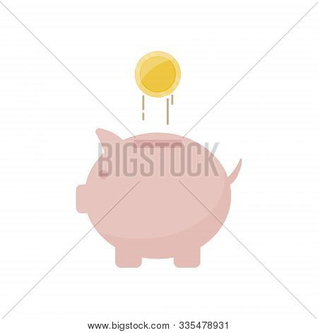 Piggy Bank Icon With Coin For Financial Savings Concept. Economic Growth, Save And Earnings Money