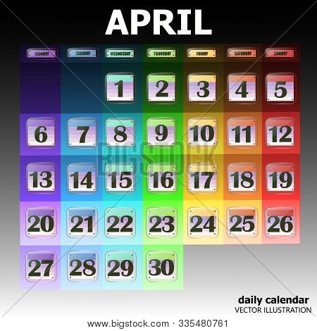 Colorful Calendar For April 2020 In English. Set Of Buttons With Calendar Dates For The Month Of Apr